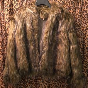 Nasty Gal faux fur coat OS NWOT